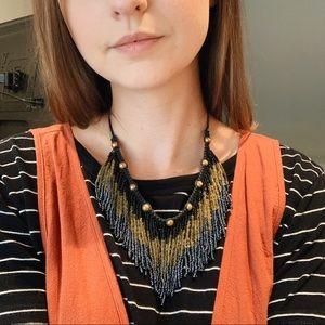 Fringe seed bead necklace